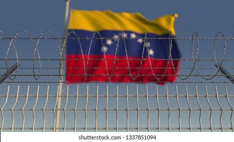 Barbed wire against waving flag of Venezuela. 3D rendering