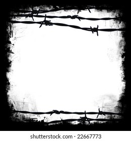 Barbed wire black square frame border with white blank middle for your own design