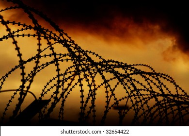 the barbed wire with clouds and light