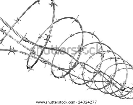 Barbed Wire Curled Spiral Stock Illustration