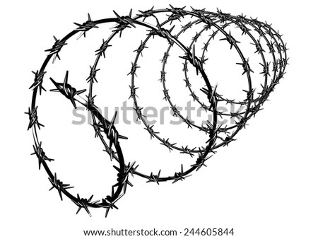 Barbed Wire Fence Protection Properties Stock Illustration 244605844