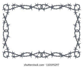 barbed wire frame isolated