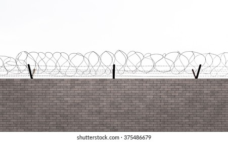 Barbed wire over concrete wall