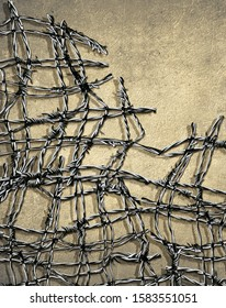 barbed wire and wall background with copy space