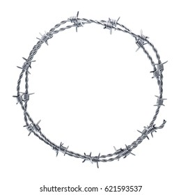 Barbed wire wreath on white background. 3D illustration.