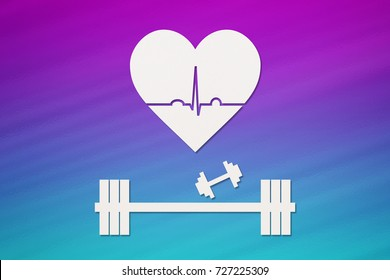 Barbell, dumbbells and heart with echocardiogram. Healthy lifestyle concept. Abstract conceptual image.