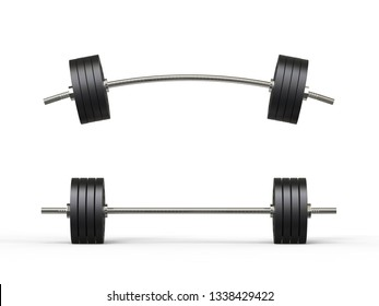 Barbell isolated on white background, 3d illustration.