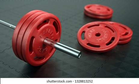 Barbell with red barbell weights in gym. 3d illustration