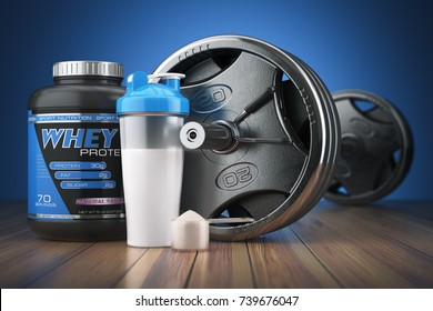 Barbell and whey protein shaker. Sports bodybuilding supplements or nutrition. Fitness or healthy lifestyle concept. 3d illustration