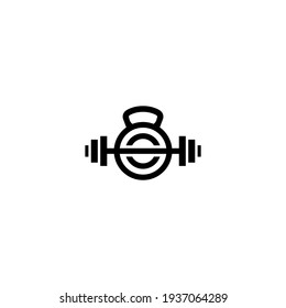 Barbells kettlebell logo design with concept. Simple and clean flat design for Gym fitness