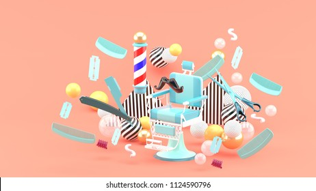 Barber chair and barber accessories among the colorful balls on the pink background.-3d rendering.