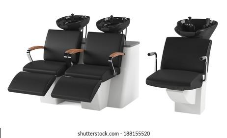 Barber chair isolated. Salon spa head wash.