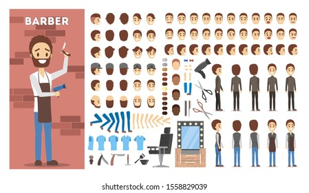 Barber character set for the animation with various views, hairstyle, emotion, pose and gesture. Shaving and cut equpiment. Isolated  illustration in cartoon style