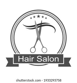 barber logo illustration. scissors with curl of hair in a circle with banner