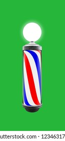 barber pole isolated on green background 3d illustration