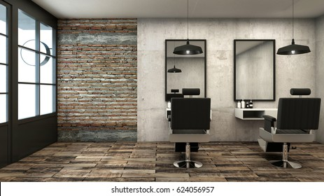 Barber shop design Rusty Loft -3D render