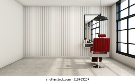 Barber shop Modern & Loft design - 3D render