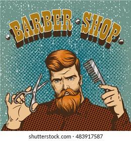 Barber shop poster illustration. Hipster barber stylist with scissors shop design in vintage pop art style.