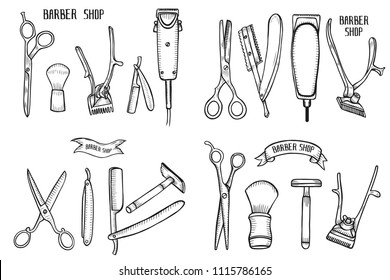 Barber shop set . Hand drawn  illustration isolated on white in old vintage engraving style.