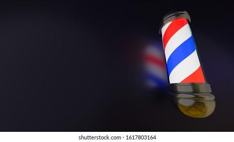 barber shop sign neon light 3D illustration