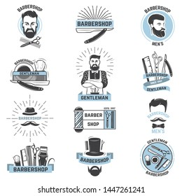 Barbershop logo barber cuts male haircut and barbed mustache of bearded man with razor in hipster salon on logotype illustration set isolated on white background