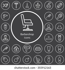 barbershop outline, thin, flat, digital icon set for web and mobile