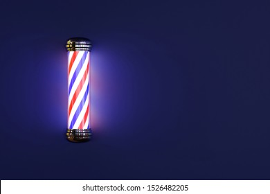 Barbershop pole glowing isolated on dark blue background; 3d rendering; copy space at right side of an image