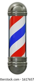 barbershop sign spiral pole men haircut salon 3D illustration