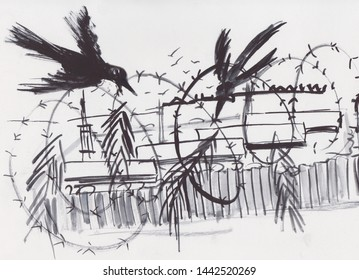 barbwire and ravens around concentration camp