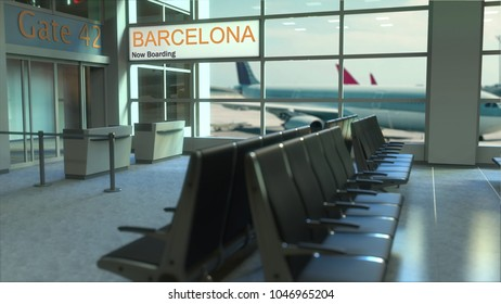 Barcelona flight boarding now in the airport terminal. Travelling to Spain conceptual 3D rendering