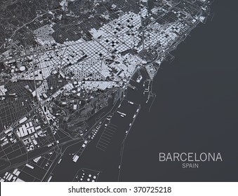 Barcelona map, satellite view, Spain