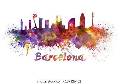 Barcelona skyline in watercolor splatters with clipping path