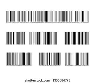 Barcode Collection, Black Lines and Numbers, Marks Collection Isolated on White Background.