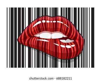 Barcode strip makeup of biting mouth. Stripped lips of bar code digital scanning.