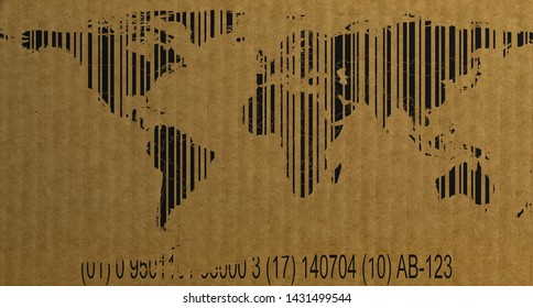 Barcode style world map with numbers on cardboard 3d rendering