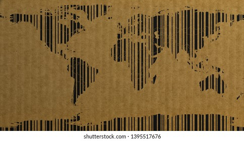 Barcode style world map on cardboard 3d rendering