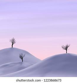 bare trees in a winter landscape, 3d illustration