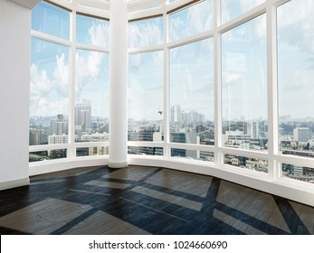 Bare unfurnished modern room with spectacular view through tall curved glass windows overlooking the city. 3d Rendering.