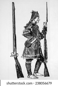 A barefoot 'Congress' soldier with his musket, drawing ca. 1775