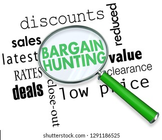 Bargain Hunting Sales Deals Magnifying Glass Words 3d Illustration