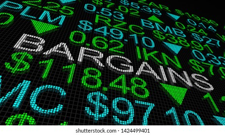Bargains Great Deals Stock Picks Market Ticker 3d Illustration