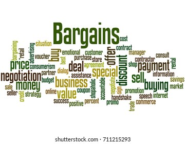 Bargains, word cloud concept on white background.