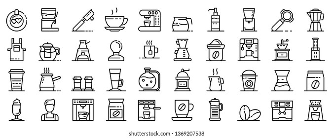Barista icons set. Outline set of barista icons for web design isolated on white background