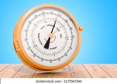 Barometer on the wooden desk, 3D rendering