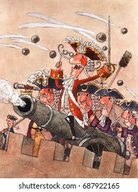 Baron Munchausen fires from a cannon, watercolor, illustration