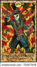 Baron Samedi. Page of pentacles. Fantasy Creatures Tarot full deck. Minor arcana. Hand drawn graphic illustration, engraved colorful painting with occult symbols. Halloween background