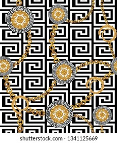 Baroque and chains on repeating Greek pattern for textile print. Seamless texture.