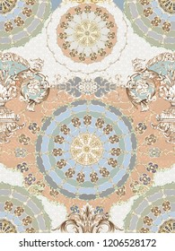 Baroque damask pattern, delicate mechanism, delicate shading, elegant pattern,saffron yellow,Golden tumbleweed