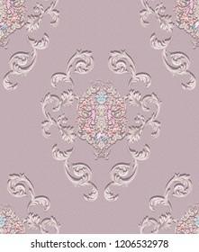 Baroque damask pattern, delicate mechanism, delicate shading, elegant pattern,cameo brown