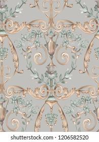 Baroque damask pattern, delicate mechanism, delicate shading, elegant pattern,Gray background,Golden tumbleweed